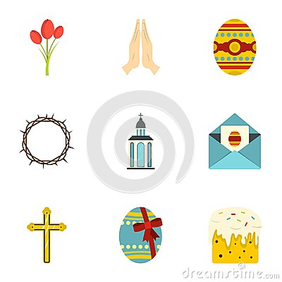 Easter icon set, flat style Vector Illustration