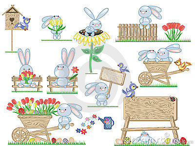 Easter icons with bunnies