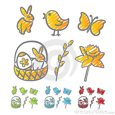 Easter icons scribble
