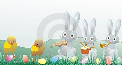 Easter illustration - chickens and bunny
