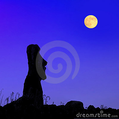 Easter Island At Full Moon Stock Photography - Image: 8934172
