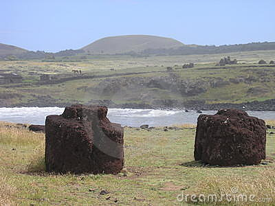 Easter Island - moai s topknots at Ahu Hanga Te e