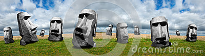 Easter Island Statues, Abstract Panoramic or Panorama Banner