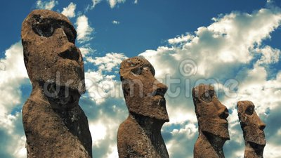 Easter Island Statues. Easter Island old tribal statuesvwith dramatic sky stock video footage