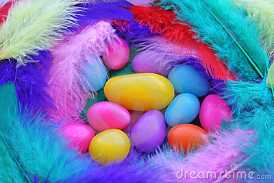 Easter Jelly Beans in Feathers