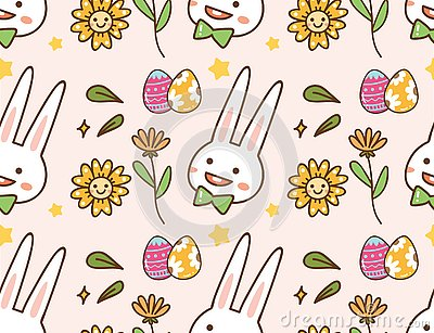 Easter kawaii background with rabbit, egg and flower Stock Photo