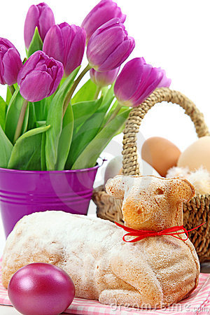 Free Easter Lamb Cake And Purple Tulips Stock Photography - 13345452