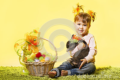 Easter little girl, kid bunny rabbit, basket eggs
