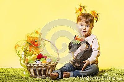 Easter little girl, kid bunny rabbit, basket eggs