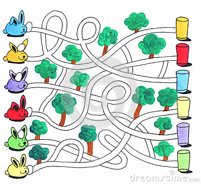 Free Easter Maze Game Or Activity Page For Kids: Bunnies And Eggs Stock Image - 36960861