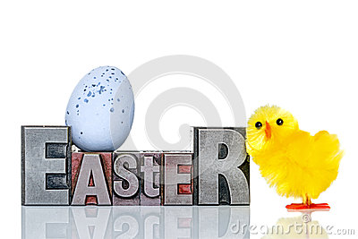 Easter metal letterpress and chick