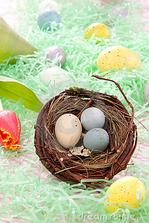 Easter Painted eggs composition