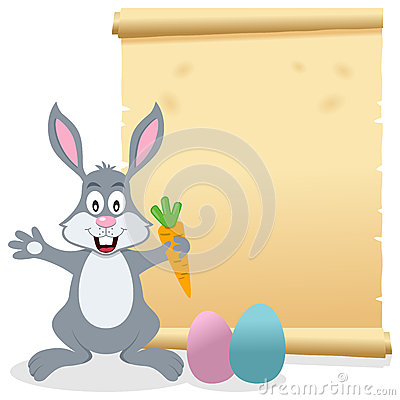 Easter Parchment Scroll with Bunny Rabbit