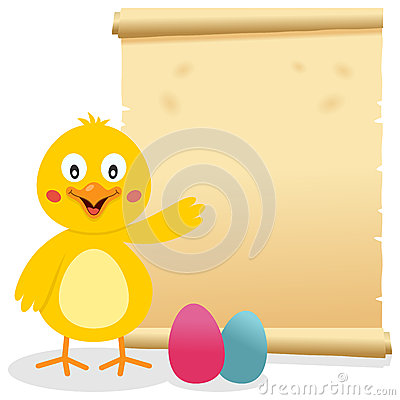 Easter Parchment Scroll with Chick