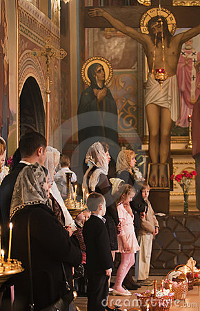 Easter, parishioners of the Orthodox Church. Editorial Photography