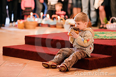 Easter, parishioners of the Orthodox Church. Editorial Image