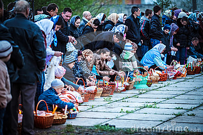 Easter, parishioners of the Orthodox Church Editorial Stock Image