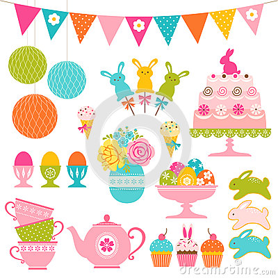Free Easter Party Set Stock Photos - 49677293