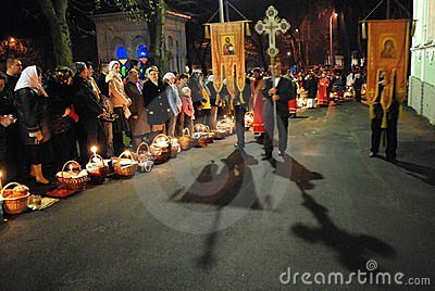 Easter. The procession around the church. Editorial Photo