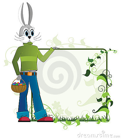Easter rabbit  with a basket of eggs