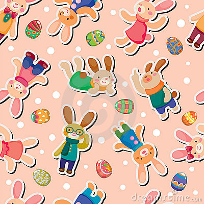 Easter rabbit and egg seamless pattern