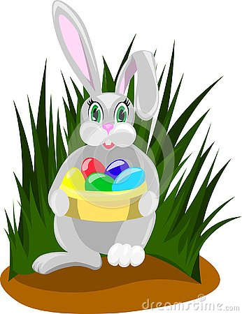 Easter rabbit with colored eggs Cartoon Illustration