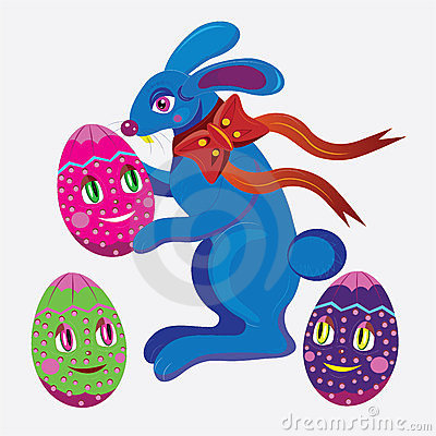 Easter rabbit and eggs.