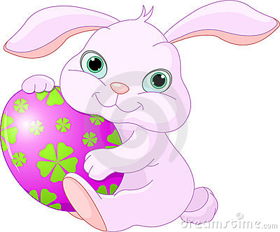 Easter Rabbit holds egg