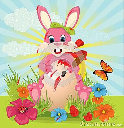 Easter rabbit painted egg
