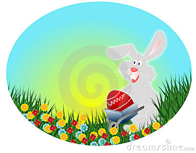 Easter rabbit with red egg (Easter postcard)