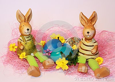 Easter rabbits and dyed eggs