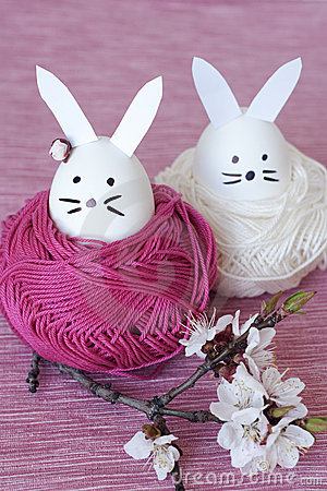 Free Easter Rabbits For Decoration Royalty Free Stock Photo - 19296065