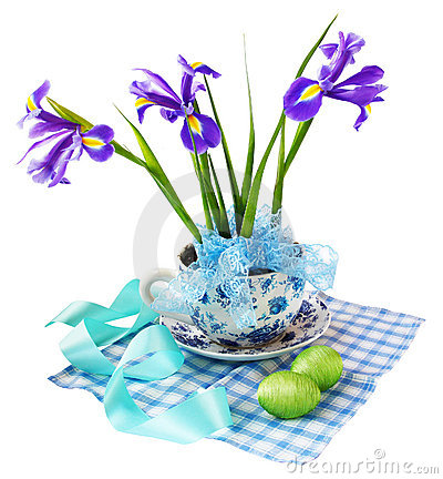 Easter reason with  irises and easter eggs