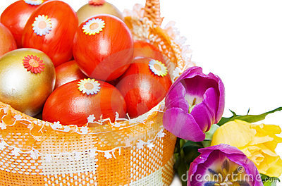 Easter red and golden eggs with tulip over white