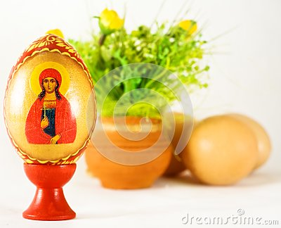 Easter and religion - painted egg and ornaments