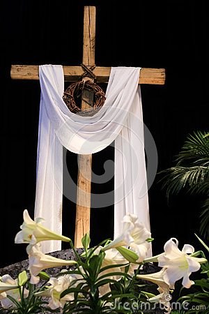 Easter Resurrection Lilies Cross And Crown Of Thorns
