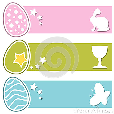 Easter Retro Eggs Horizontal Banners