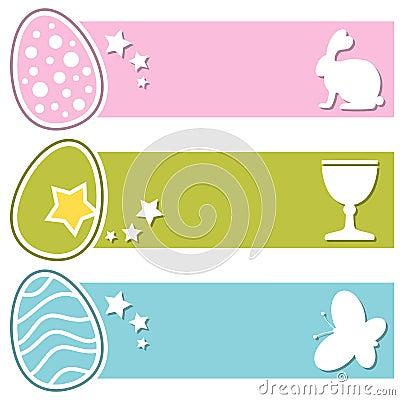 Easter Retro Eggs Horizontal Banners