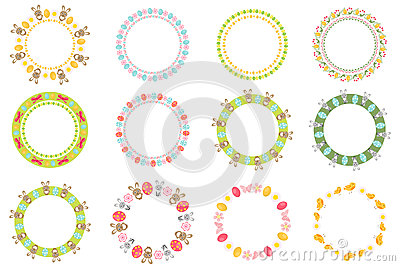 Easter round frame for your text set. Isolated on white background. Vector illustration. Vector Illustration