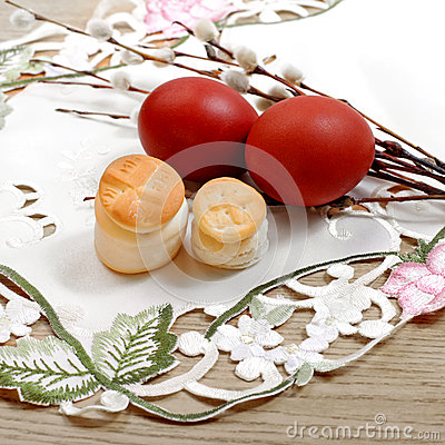Free Easter Russian Religion Bread And Color Eggs Stock Photos - 51803503