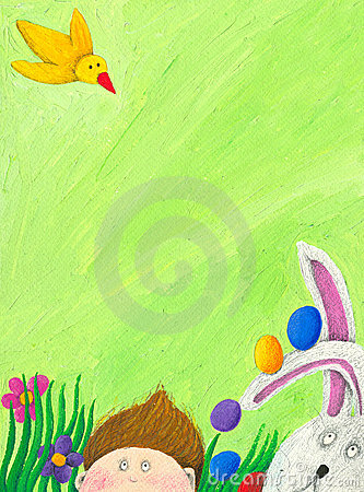 Easter scene with boy, rabbit and bird