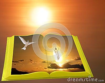 Easter scene of Gold Bible on sunrise.
