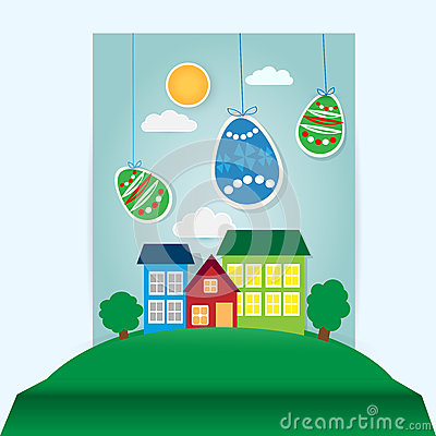 Easter scene with paper eggs and house