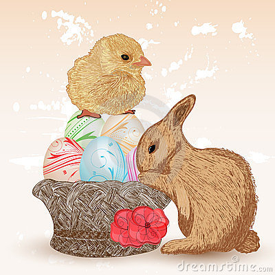 Easter scene with rabbit and chick