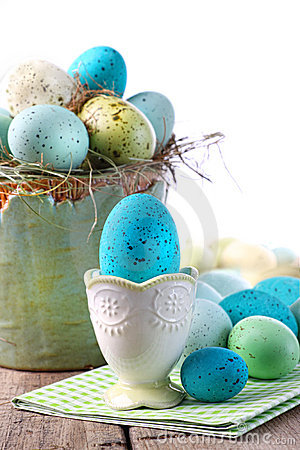 Free Easter Scene With Turquoise Speckled Egg In Cup Stock Images - 13230064