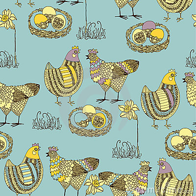 Easter seamless pattern with chicken and cock