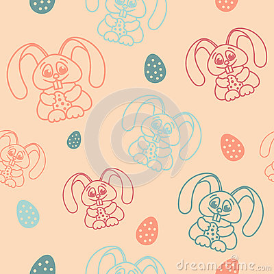 Free Easter Seamless Pattern Rabbits Holding Eggs Pastel Shades Stock Photo - 66652950