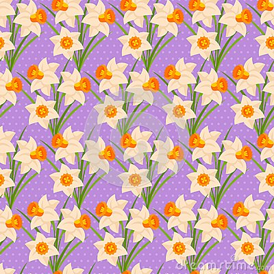 Free Easter Seamless Pattern With Daffodils Stock Photos - 49999183