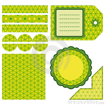 Easter set of green design elements
