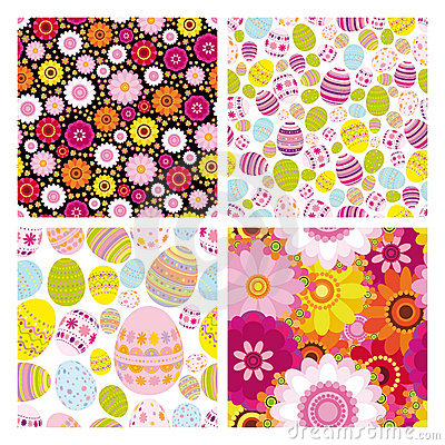 Easter set of seamless backgrounds